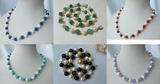 white genuined cultured freshwater pearl  mixed coral jade turquoise necklace