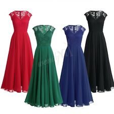 Women Sleeveless Floral Lace V Neck Chiffon Bridesmaid Dress Long Evening Party