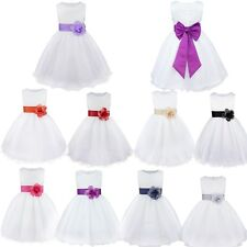 Kids Toddler Girls Baby Flower Princess Pageant Wedding Party Tulle Bow Dress