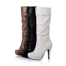 Women's Shoes Synthetic Leather High Heels Platform Mid Calf Boots UK Size b229
