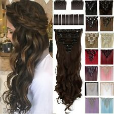 Real Thick 8pcs 18clips Hair Extensions Clip In On Hair As Human Remy Brown Lhg