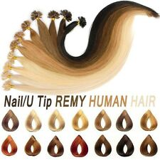 Wholesale Blonde Real human hair extensions Glue U Nail Tip Remy Pre Bonded Hair