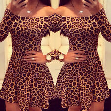 New Fashion Women Bodycon Slim Dresses Long Sleeve Leopard Cocktail Party Dress