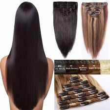 Real Good Clip In 100% Remy Human Hair Extensions 8Pieces Full Head AU Sale YP7