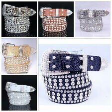 Stylish Leather Bling Rhinestone Crystal Western Cowgirl Belt Waistband Womens U