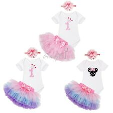 3PCS Baby Girl Headband 1st Birthday Outfit Party Romper Tutu Skirt Outfit Set