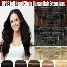 Women's Fashions Clip In Remy Human Hair Extensions Full Head Brown Blonde Black