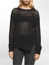 calvin klein womens asymmetrical solid stitch pullover