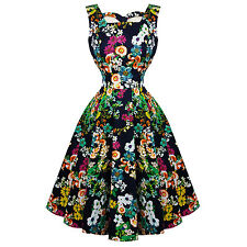 Hearts & Roses London Navy Retro Floral Vintage 1950s Flared Party Swing Dress U