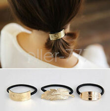 Punk Gold metal feather oval rectangle Hair Band Rope Scrunchie Ponytail Holder