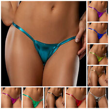 Metallic Look Stripper, Lap/Pole Dancer Micro Mini G-String Thong