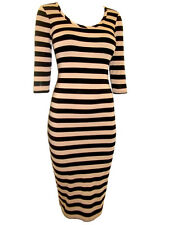 OASIS TAN BEIGE or BLACK STRIPE TUBE MIDI STRETCH DRESS Size XS, S, M