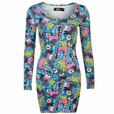 Iron Fist Womens Dress All Over Pattern Bodycon Long Sleeve Scoop Neck Top