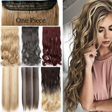 UK Sale Ombre Real Thick Clip In Hair Extensions 3/4 Full Head Deluxe AS Human