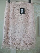 BRUCE BY BRUCE OLDFIELD PEACH LACE PENCIL SKIRT FULLY LINED UK 10 RRP £99 BNWT