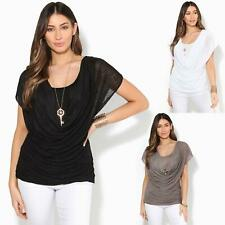 Womens Ladies 2 in 1 Pleated Cowl Neck Mesh Layer Vest Top Tunic Blouse Summer