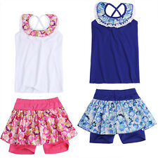 Baby Kids Girl Summer Vest Tops +Floral Tutu Skirt Culottes Shorts Outfit Set