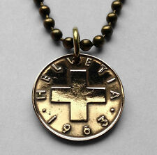 Switzerland 1 Rappen coin pendant white SWISS CROSS Helvetia Zurich red n001459
