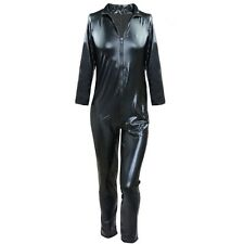 Men Sexy Black Wetlook Front Zipper Catsuit Bodysuit Jumpsuit Clubwear Costume