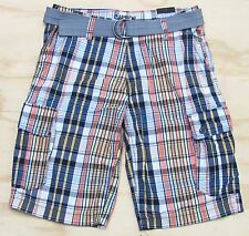 Carbon Mens Cargo Shorts Navy Blue Plaid Cotton with Gray Belt New