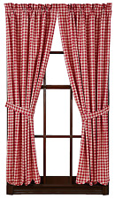 Breckenridge Plaid Panels Pair in Country Red and Creme, Choice of Two Sizes