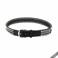 Womens Studded Thick Faux Leather Rock Western Pin Buckle Hip Waist Band Belt