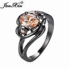 JUNXIN Oval Champagne Topaz Engagement Ring Black Gold Filled Jewelry Size 6-10