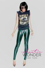 Elastic Wonder Stretch Metallic Stripes Nylon Spandex Leggings - Made In USA.