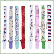 Set of 4 Infant Baby Toddler Pacifier Straps Holders with Clip Press Buttons