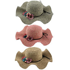 Ladies Straw Flower Design Decor Summer Travel Garden Beach Wide Brim Sun Hat