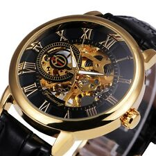 Black Gold Men Mechanical Watch Montre Homme Mens Watches Leather Skeleton New