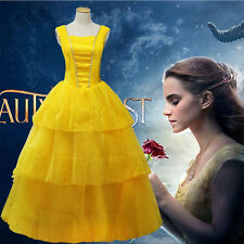 Adult Princess Belle Fancy Dress Beauty and The Beast Cosplay Costume Ball Gown