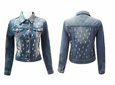 Ladies Womens Badges Denim Embroidered Jacket Distressed Ripped Jeans Coat