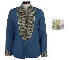 NWT BOB MACKIE'S Mandarin Collar Embroidered Shirt Jacket Many Size 240423RM
