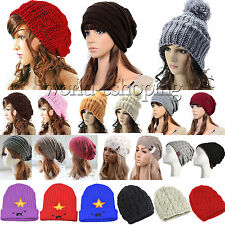 Womens Cable Knitted Slouch Beanie Hat Winter Warm Knitted Ski Beret Wool Caps