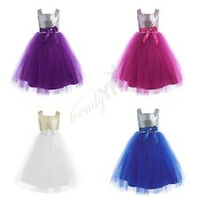 Girls Sleeveless Sequins Tulle Flower Dress Princess Pageant Wedding Bridesmaid