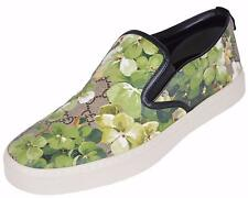 NEW Gucci Men's 407362 GG BLOOMS Coated Canvas Slip On Sneakers Shoes