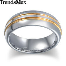 7mm Mens Wedding Band Ring Silver Gold Tungsten Carbide Polished Stripes Sz 8-13