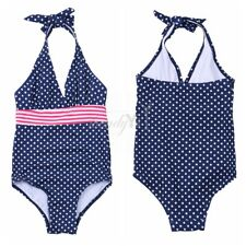 Toddler Girls Kids One-piece Bikini Polka Dots Halter Swimsuit Swimwear Bathing