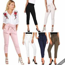 Women Ruffle Pleated Stretch High Waisted Pencil Cigarette Peg Leg Trousers Work