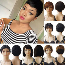 Women Full Wig 100% Brazilian Human Short Straight Wavy Hair Wigs Cosplay Cheap
