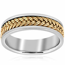 Mens 14K White Yellow Gold Two Tone Braided Band Ring Comfort Fit