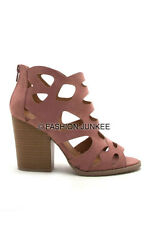 *MAUVE PINK CUT OUT OPEN TOE Booties Shoes Stacked Heels Ankle Peep Suede 5-10