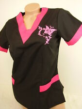 New Women Nursing Scrub Black Pink Embroidery Butterfly Poly/Cotton Top