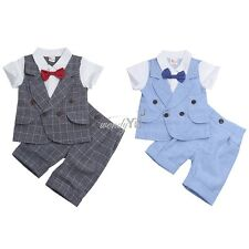 2PCS Baby Boys Summer Plaid Outfits Short Sleeve Bowtie T-shirt with Shorts Pant