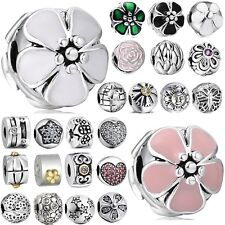 2016 European 925 clip spacer sterling silver flower charms bead For bracelet UK