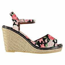 Full Circle Womens Floral Printed Wedges Shoes Buckle Fastening Ankle Strap