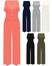 NEW WOMENS  FRILL TOP WIDE PALAZZO LEG JUMPSUIT in 6 colours