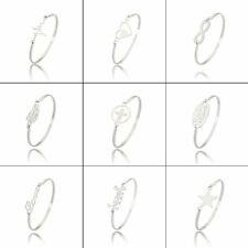Fashion Stainless Steel Silver Family Love Bangle Bracelet Women Jewellery Gifts