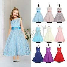 Girl Lace Flower Wedding Party Birthday Prom Teenage Bridesmaid Sleeveless Dress